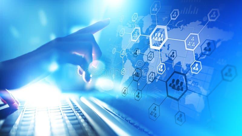 U, Personeelsbeheer, rekrutering, delocalisering Zaken en modern technologieconcept royalty-vrije illustratie