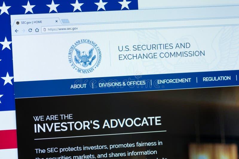 U S Επιτροπή Κινητών Αξιών και Συναλλάγματος που επιδεικνύεται στη οθόνη υπολογιστή στοκ φωτογραφία με δικαίωμα ελεύθερης χρήσης