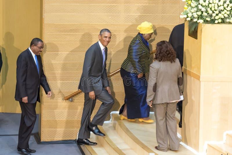 U S Президент Barack Obama делает его первое президентское посещение t стоковые изображения rf