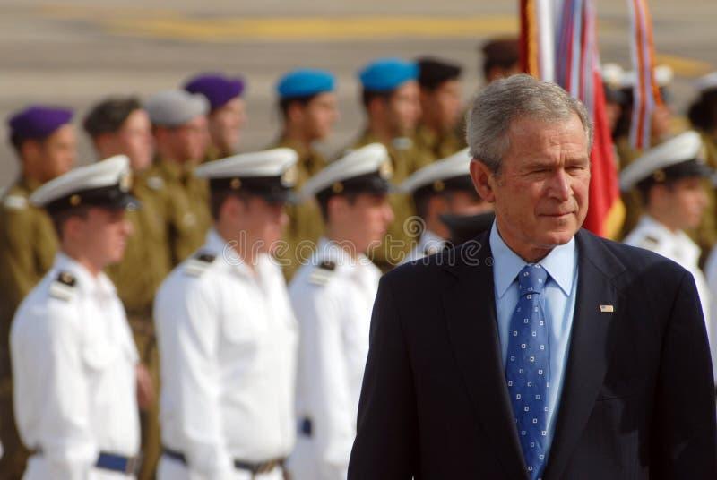 U.S. 乔治・沃克・布什总统参观向以色列 免版税库存图片