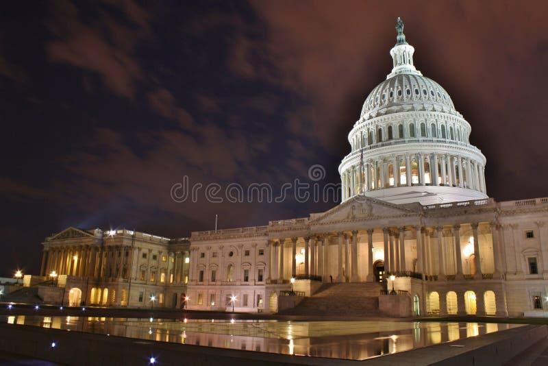 U S 国会大厦夜间 免版税库存照片