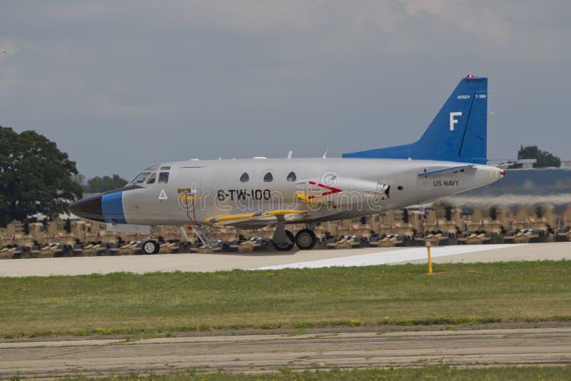 U.S. 海军下来喷气式歼击机标题跑道 免版税库存图片