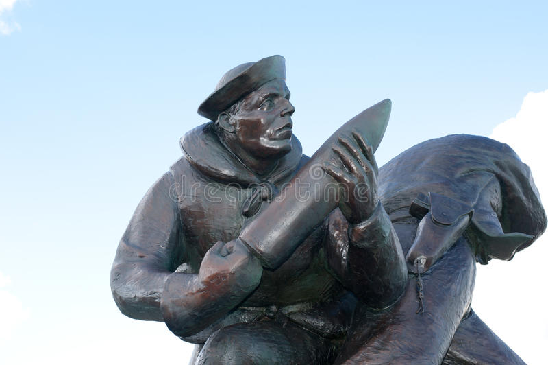 U S 海军纪念碑犹他海滩边 库存图片