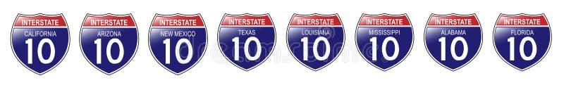 U.S. 10 segni da uno stato all'altro, California a Florida illustrazione vettoriale