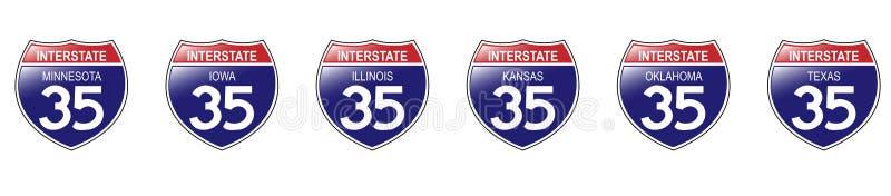 U.S. 35 segni da uno stato all'altro, Minnesota al Texas. royalty illustrazione gratis