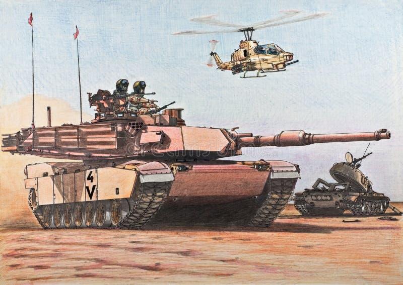 U.S. Abrams-Behälter führt ein zerstörtes irakisches T-55 vektor abbildung