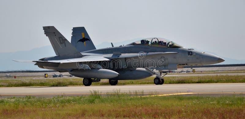 U S Aereo da caccia del calabrone della marina F-18 immagini stock libere da diritti