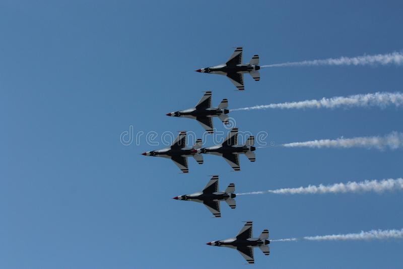 The U.S. Airforce Thunderbirds fly by at in Cleveland Ohio Sept. 2009 stock photos