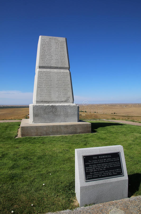 U.S. Army Memorial on Last Stand Hill at Little Bighorn Battlefield stock images