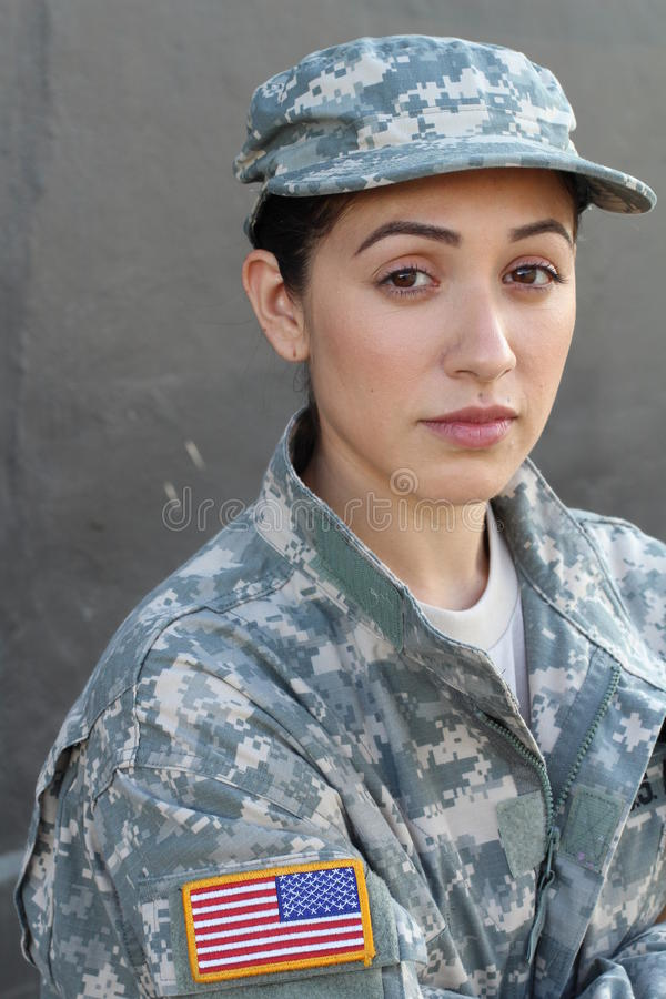 U.S. Army Soldier, Sergeant. Isolated close up showing stress, PTSD or sadness stock image