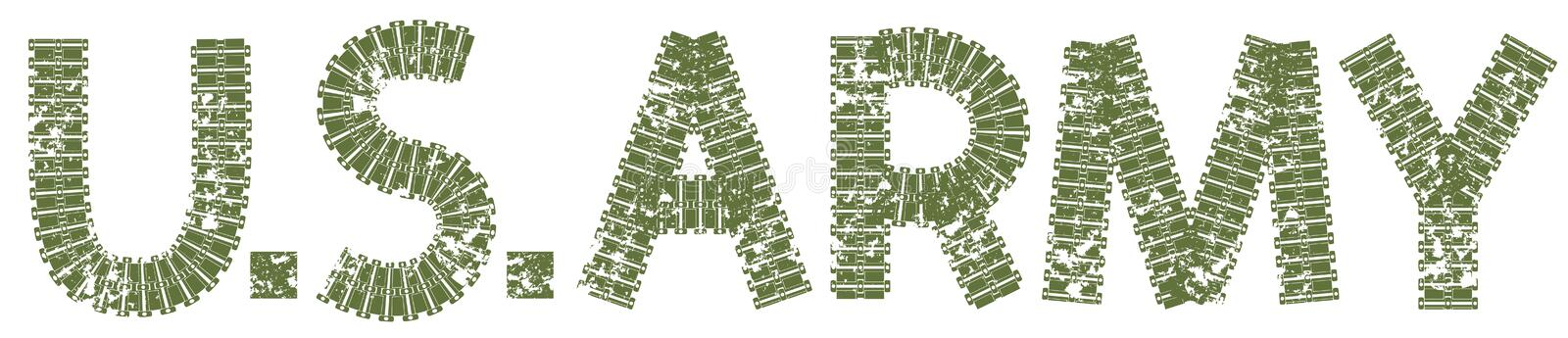 U.S. Army text with the letters made of tank tracks royalty free illustration