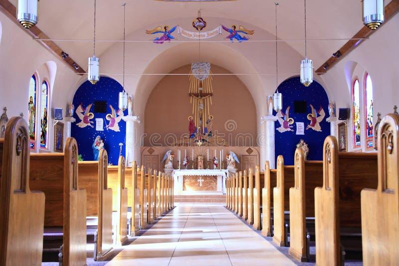 U.S.A., AZ/Miami: Vecchia chiesa cattolica - Nave, coro immagini stock libere da diritti