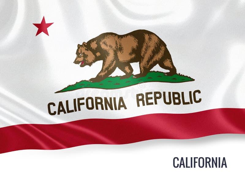 U S bandera de California del estado ilustración del vector