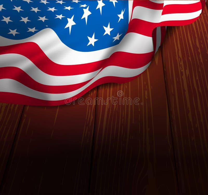 U.S. bandiera su un pavimento di legno illustrazione vettoriale