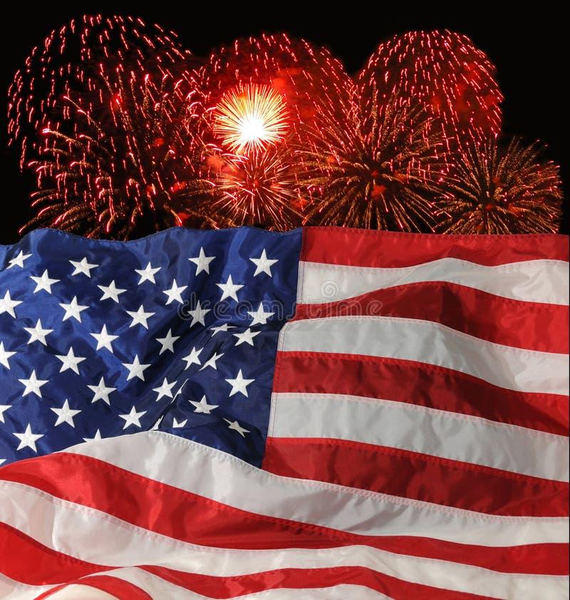 U.S. Bandierina e fuochi d'artificio fotografie stock