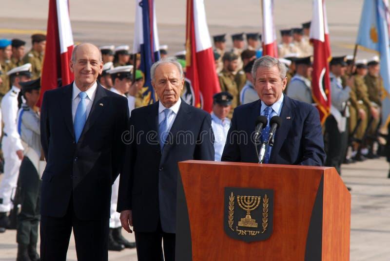 U.S. Besök för president George W. Bush till Israel royaltyfri fotografi