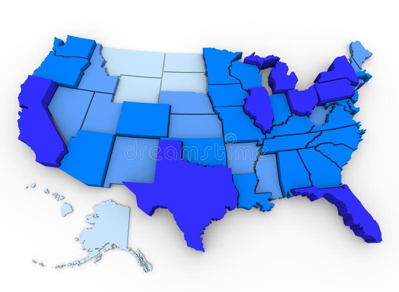 U.S. Bevolking - Kaart van de Meeste Bevolkte Staten vector illustratie