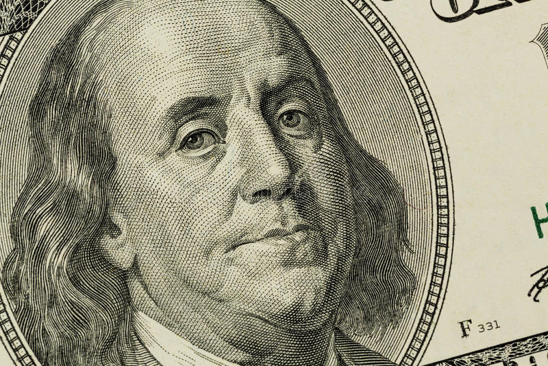 U.s. Billet D Un Dollar, Benjamin Franklin Image stock