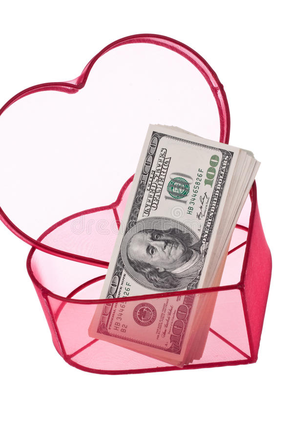 U.S. billets d'un dollar à un coeur image libre de droits