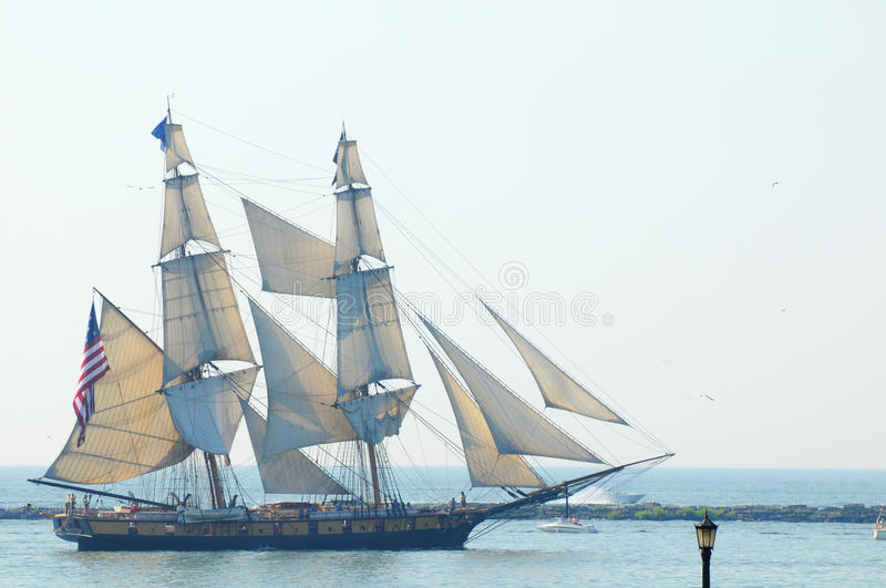 U.S. Brig Niagara. The U.S. brig Niagara (1988 reconstruction) sails in the Parade of Ships that began the 2010 Cleveland Tall Ships Festival (July 7-12) on July royalty free stock photos