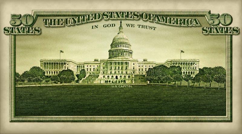 U S Capitólio isolado da nota de dólar cinqüênta fotografia de stock royalty free