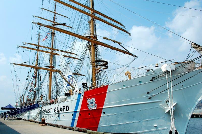 U.S. Coast Guard Tall Ship, The Eagle. Future Coast Guard officers train at sea aboard the barque, The Eagle stock photo