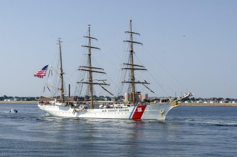 U. S. Coast Guard training cutter Eagle nearing New Bedford royalty free stock photos