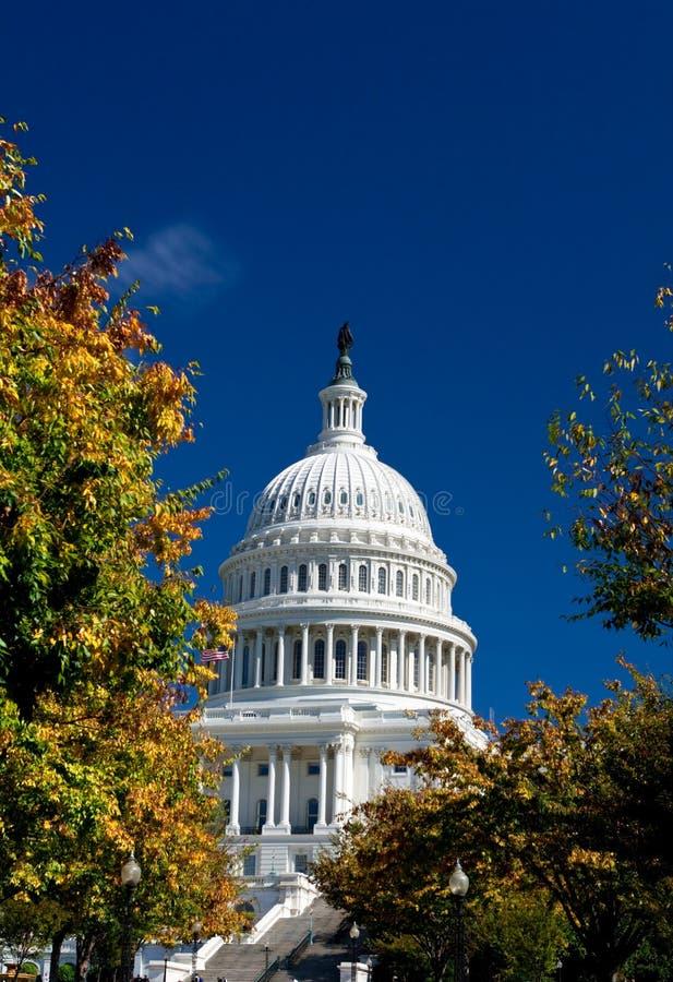 U.S. Colore giallo capitale di autunno del Washington DC della costruzione fotografie stock libere da diritti