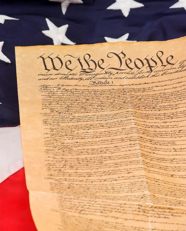U.S. Constituição na bandeira fotografia de stock royalty free