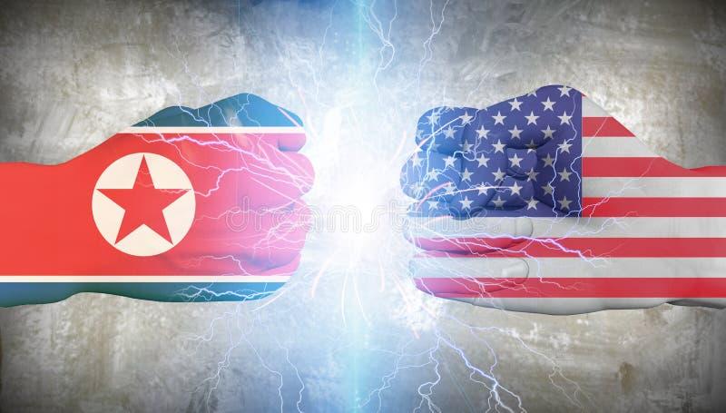 U.S.A. contro il Nord Corea illustrazione vettoriale