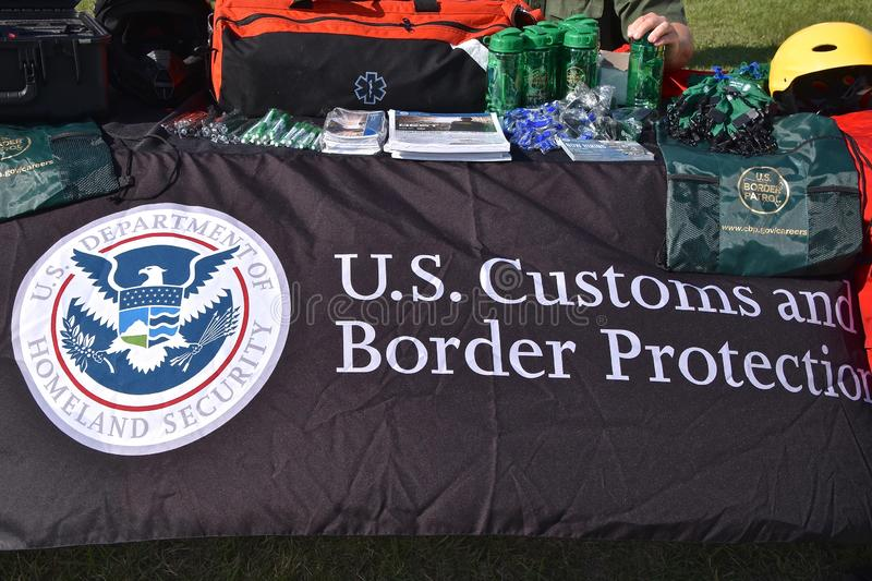 U.S. Customs and Border Control Protection booth. EAST GRAND FORKS, MINNESOTA, May 9, 2019: A booth displaying the United States Customs and Border Protection is royalty free stock photo