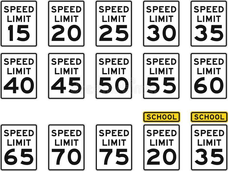 U.S. De Tekens van de maximum snelheid stock illustratie