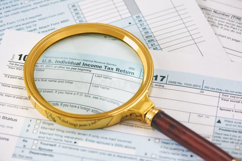 U S Declaración sobre la renta individual imagen de archivo libre de regalías