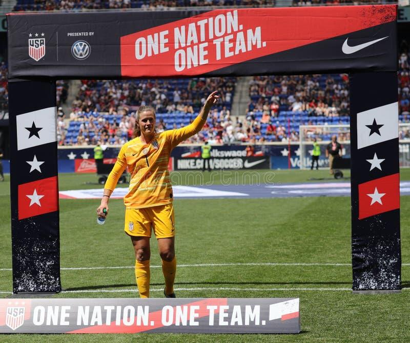 U S Der Fußball-Teamtorhüter Alyssa Naeher #1 der Frauen senden-Weg nationaler während Feier für den Weltcup 2019 Frauen stockfotos