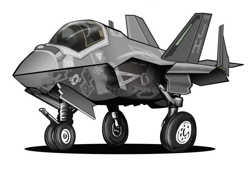 U S Desenhos animados comum dos aviões de lutador da greve do relâmpago II da marinha F-35C ilustração stock