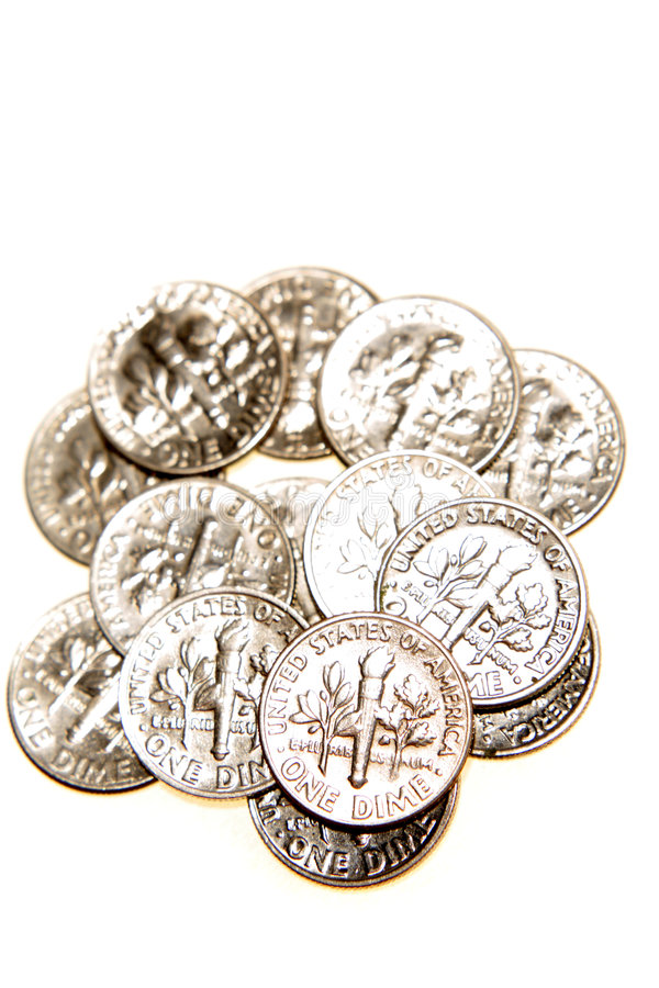 U.S. Dimes Royalty Free Stock Photo