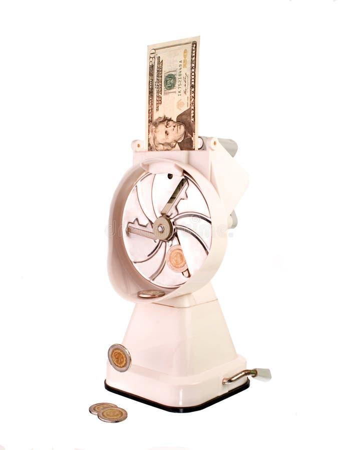 U.S. Dollar étant converti en pièces de monnaie image stock