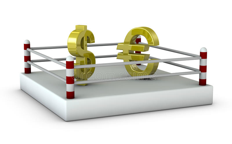 U.S. dollar vs euro. One 3d render of a ring with the dollar and euro symbols vector illustration