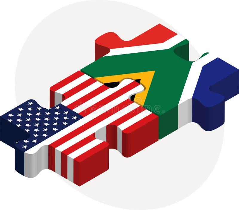 U.S.A. e bandiere del Sudafrica nel puzzle illustrazione vettoriale