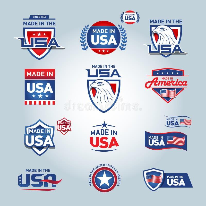U.S.A. e fatto nelle icone di U.S.A. Fatto in America Insieme delle icone di vettore, bolli, marchi, insegne, etichette, logos, d illustrazione di stock
