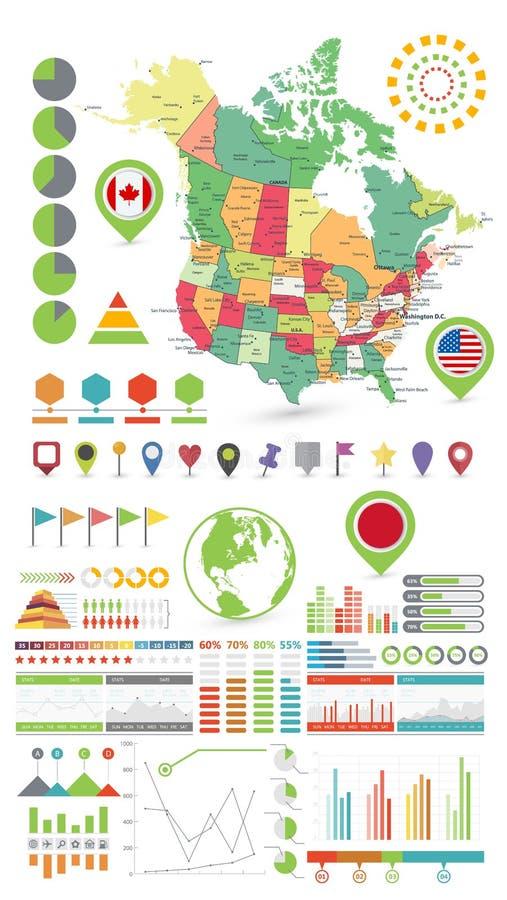 U.S.A. e la mappa e Infographics del Canada progettano gli elementi Su bianco illustrazione vettoriale