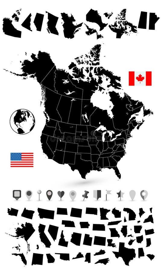 U.S.A. e mappa in bianco nera del Canada royalty illustrazione gratis