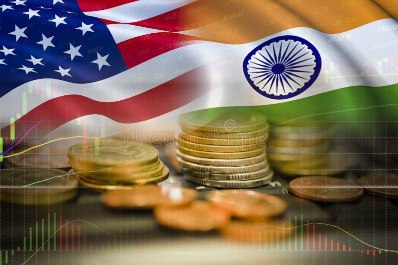 U.S.A. ed esportazione Stati Uniti d'America di economia della guerra commerciale dell'India fotografia stock