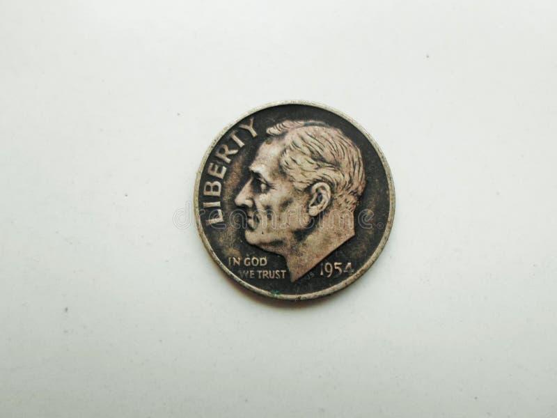 U S Een Één Dime 1954 geïsoleerd op Wit royalty-vrije stock afbeelding