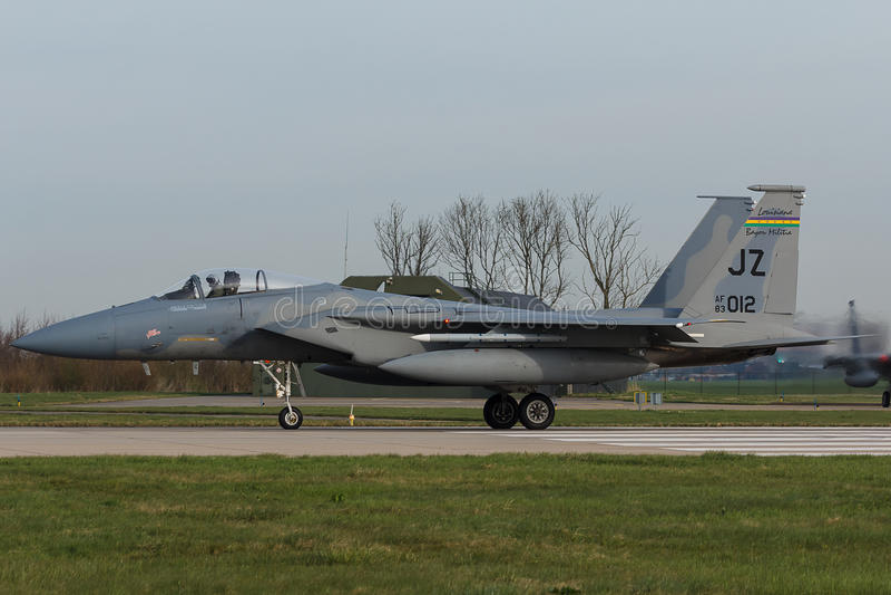 U.S.A.F.F-15 Eagle durante o exercício da bandeira do Frisian fotos de stock royalty free