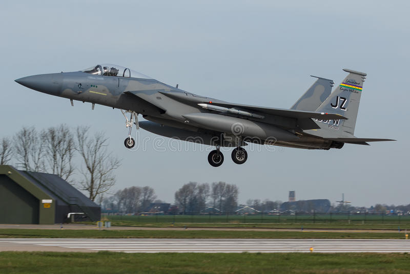 U.S.A.F.F-15 Eagle durante o exercício da bandeira do Frisian fotografia de stock