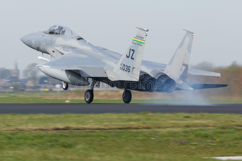 U.S.A.F.F-15 Eagle durante o exercício da bandeira do Frisian foto de stock royalty free