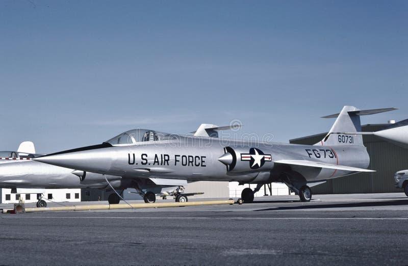 U.S.A.F. Lockheed F-104A 56-0731 a Palmdale nel 1956 fotografia stock libera da diritti