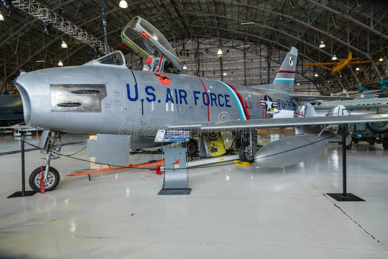 U.S.A.F. norte-americano Jet Fighter do sabre F-86 fotos de stock royalty free