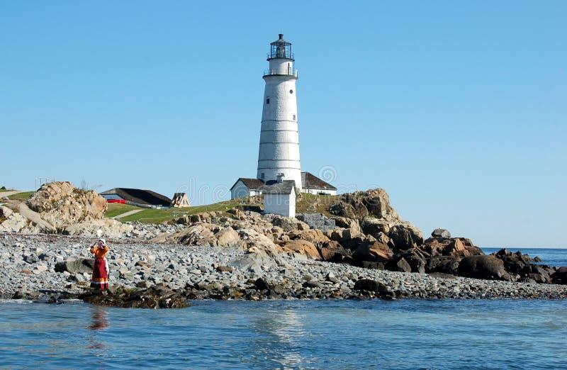 U.S. Faro della guardia costiera nel porto di Boston fotografie stock libere da diritti